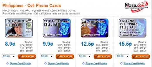 Screenshot of Nobelcom's rates to call a mobile number in Philippines. These of the rates as of 12/07/08