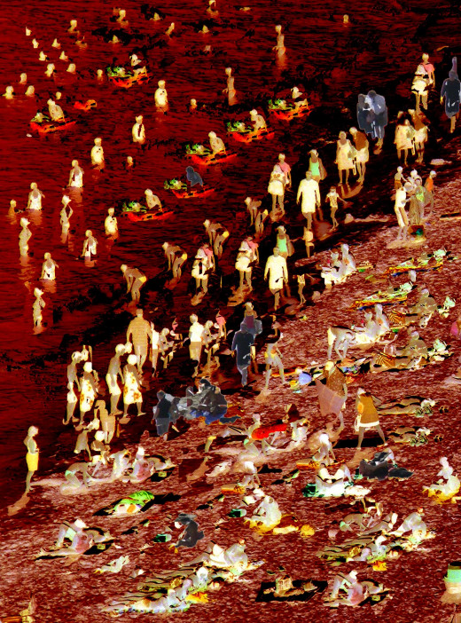 Zombies swim at their own peril as the waves tear at their flesh and stain the water blood-red. Have you seen any beaches like this? Perhaps not now but in our near future?