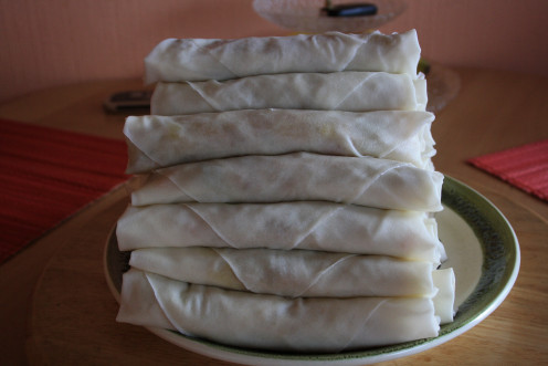 Wrapped Pedia´s Spring Rolls, ready for frying.