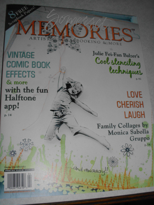 Cover page of Somerset Memories Artistic Scrapbooking & More magazine. Spring 2012 Issue displayed thru 09/30/2012