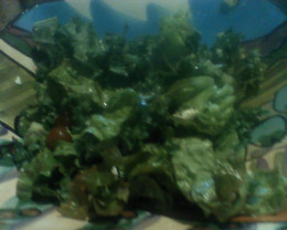 Garden salad of lettuce, kale, kiwi, parsley, and grapes tossed with fresh lemon juice