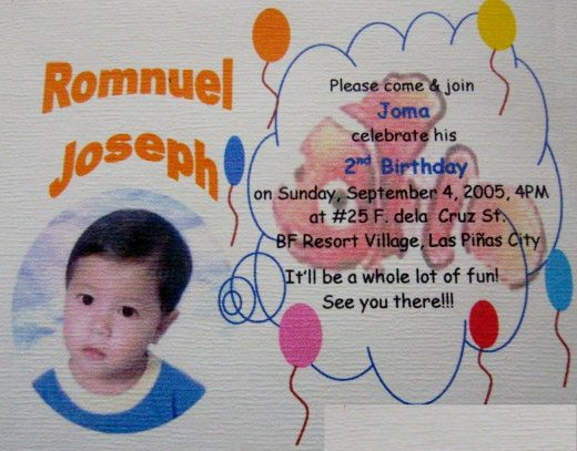A sample of personalized invitation card for your child's birthday party
