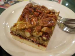 A slice of pecan cake.