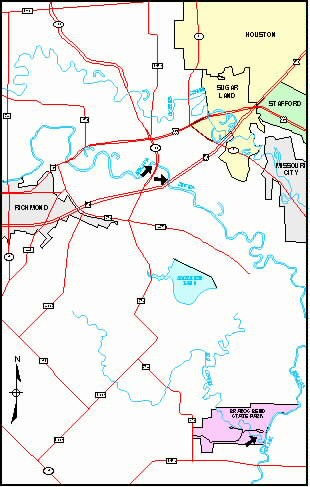 Shows the location of horseshoe lakes along the Brazos River in proximity to Houston.