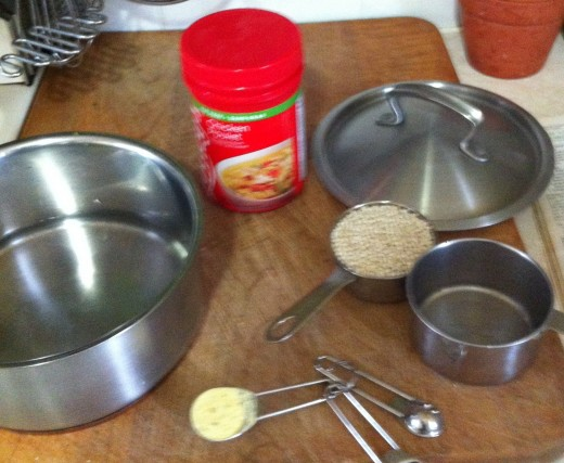 Cooking the barley in water with chicken bullion.