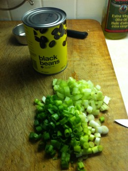For the salad you will need a can of black beans, chopped green onions and chopped celery.
