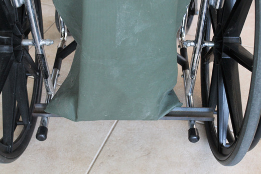 Straps on the back of a wheel chair