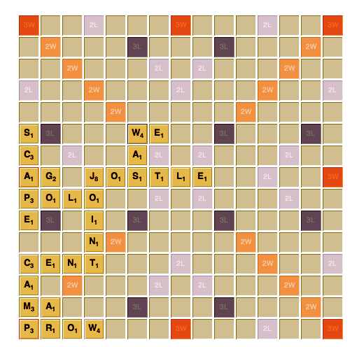 Spell S-N-A-C-K with Scrabble