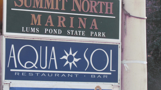 Sign at the entrance of Aqua Sol Restaurant and Bar
