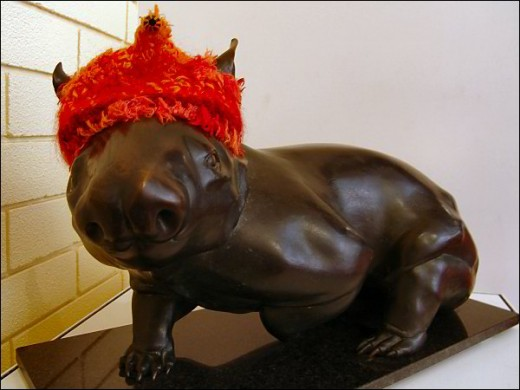 Wombat (1987 Bronze) by Silvio Apponyi - from the Araluen Collection, Acquired by Alice Springs Art Foundation as a winer of the Alice Prize, 1987.