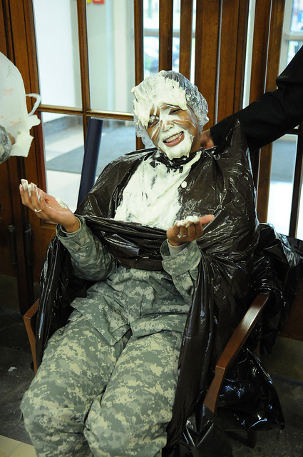 "Good sports love  to take ""pies in the face"" to raise money for charity."