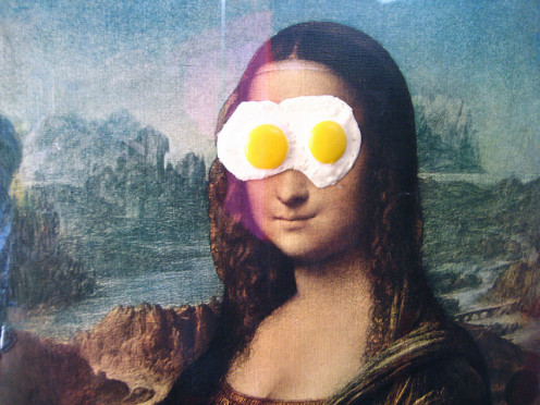 """Even classics like Mona Lisa can get """"egg on their face"""" once in awhile."""