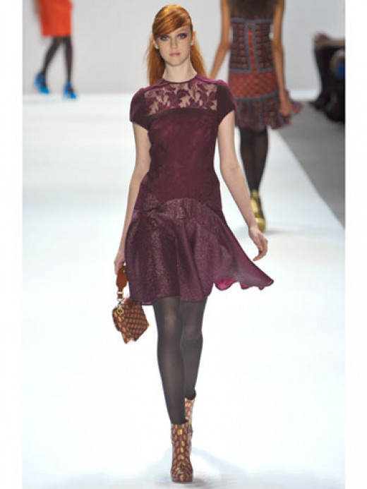 This burgundy dress by Lepore is both girly and ultra feminine.