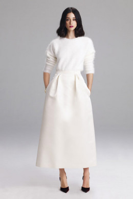 Winter white for evening is elegant and the soft sweater is on trend for Granny Chic as well.