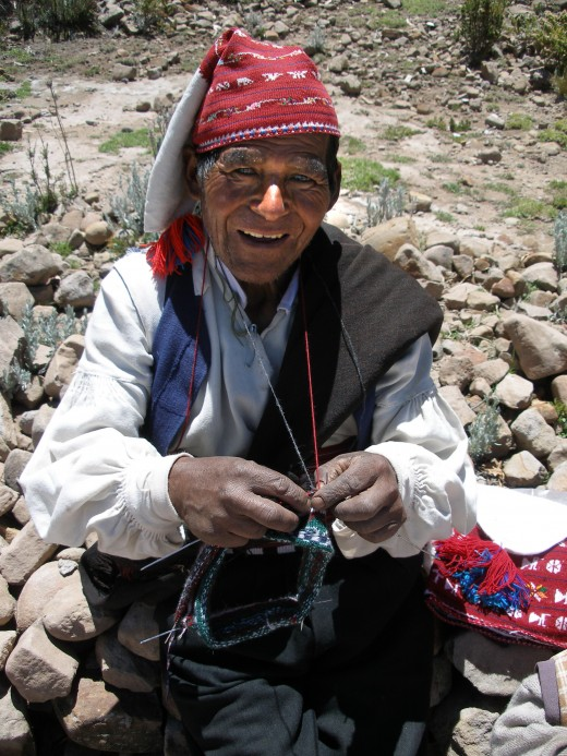Not just women - men knit, as does this native of Taquile wearing a hand made knitted cap.  Russell Crowe, actor, is also known to enjoy knitting.