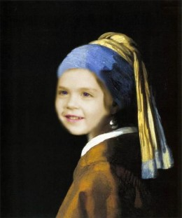 """Daisy Mariposa with a Pearl Earring,"" a parody based upon Jan Vermeer's ""Girl with a Pearl Earring,"" created by Mohan Kumar (Docmo)"