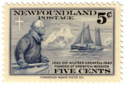 A Newfoundland Postage stamp from 1941 showing Wilfred Grenfell (1865-1940), a medical missionary to Newfoundland and Labrador