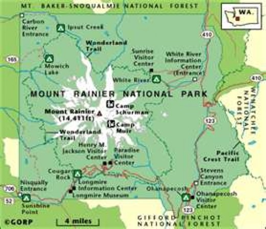 Mt Rainier National Park Map