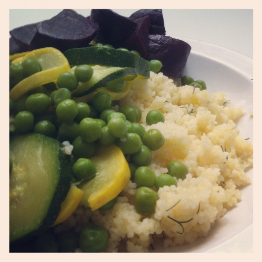 Dill Lemon Garlic Couscous, with steamed vegetables