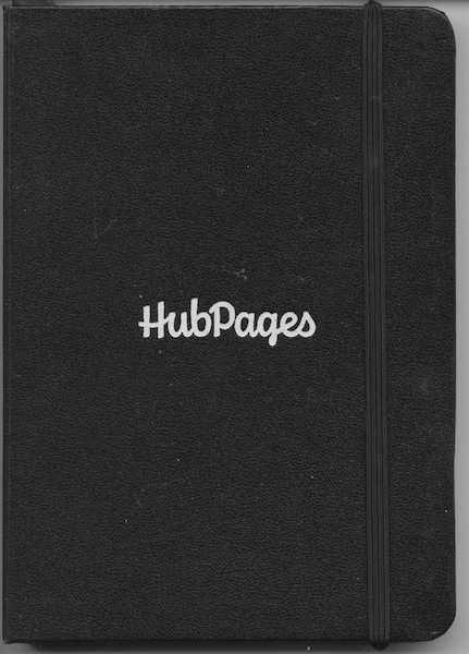 Both the shirt I'm wearing in the first picture and this little black book were gifts from HubPages when I got my first Hub of the Day. I use the book to write down ideas and notes for hubs I haven't had time to write yet. Thank you, HubPages.