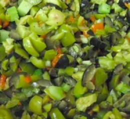 Olive salad a healthy and savory condiment for all sorts of dishes.
