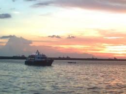 Cruising amid beautiful sunset