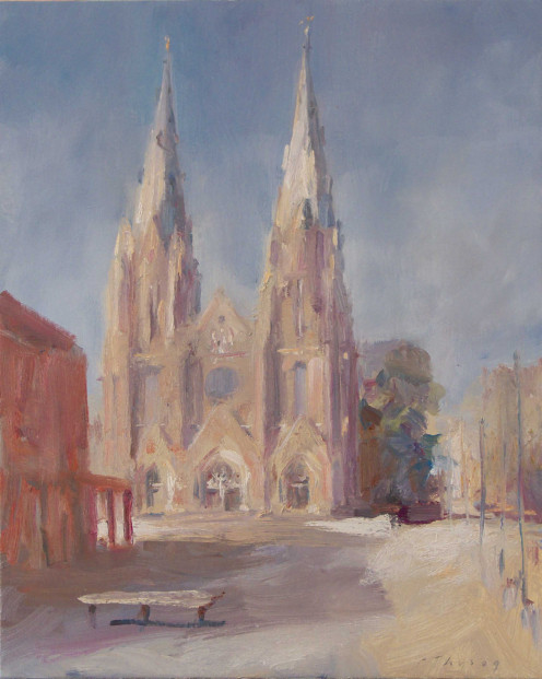 The Catharinakerk, Eindhoven, oil on linen, by P. Thijs.