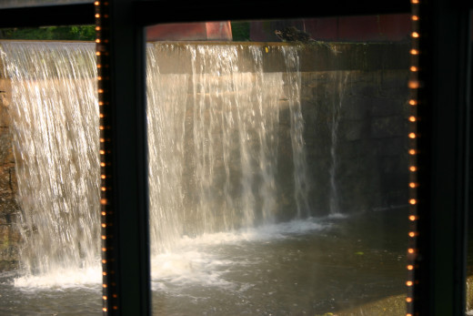 A view of the waterfall from the atrium in the River Room.