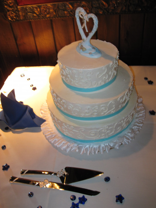 "The ""free"" wedding cake, included in the price of the reception."