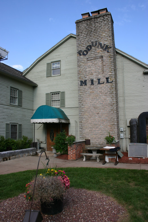 The Podunk Mill, which houses the Mill on the River Restaurant today.