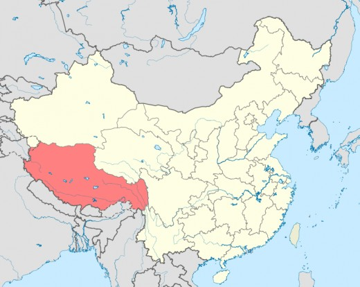 Tibet is shown in red.