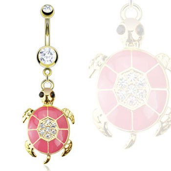 14K gold plated navel ring with dangling pink jeweled turtle