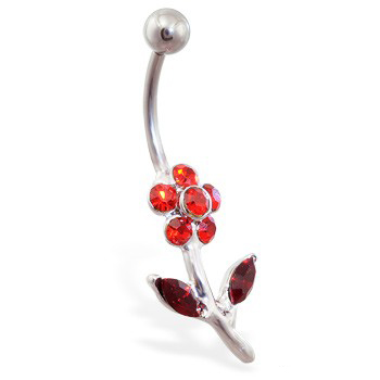 Red jeweled flower belly ring