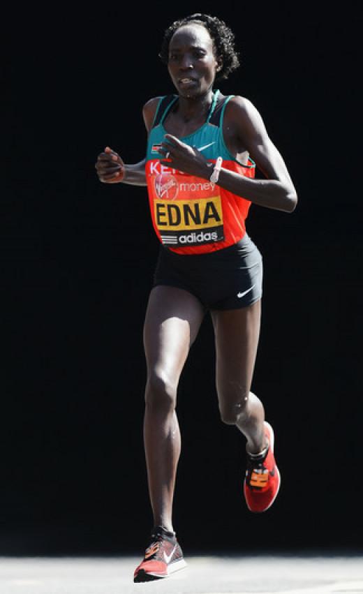 Edna Kiplagat of Kenya in action during the Virgin London Marathon 2012 on April 22, 2012 in London, England.
