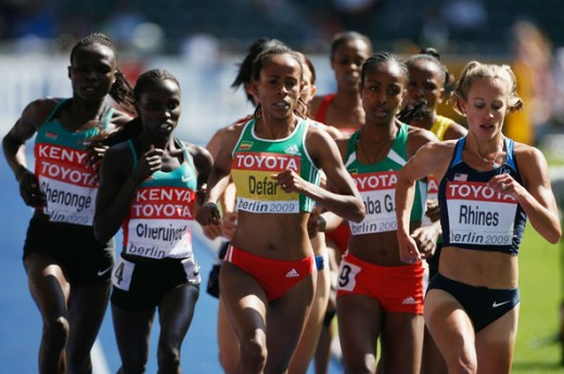 (L-R) Vivian Cheruiyot of Kenya, Meseret Defar of Ethiopia and Jennifer Rhines of United States compete in a past IAAF World Championship.