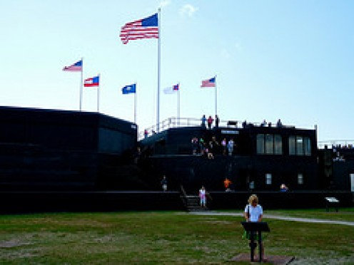 A NPS Ranger explains the flags over Fort Sumter on the twenty-minute guided tour.