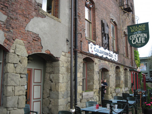 Colophon Cafe on the right, Village Books to the left.