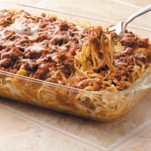This is a generic photo of baked spaghetti.