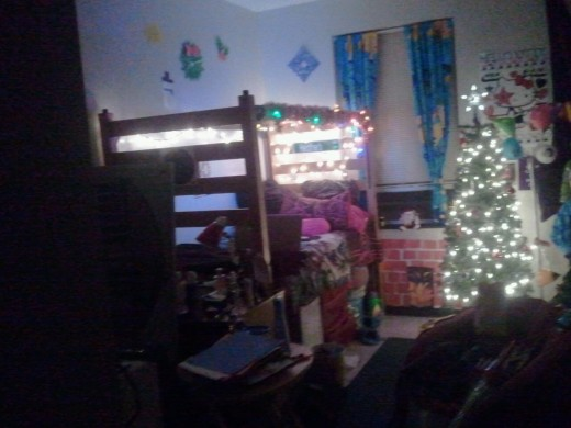 My second room at Christmas with the florescent lights off