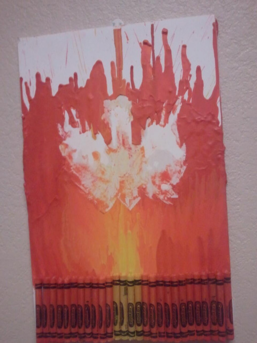 My first attempt with crayon art....i had a cut out in the middle, it was difficult to do and hard to explain how to do