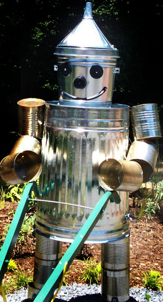 Tin Man. Simply made from aluminum buckets, coffee cans and trashcans.