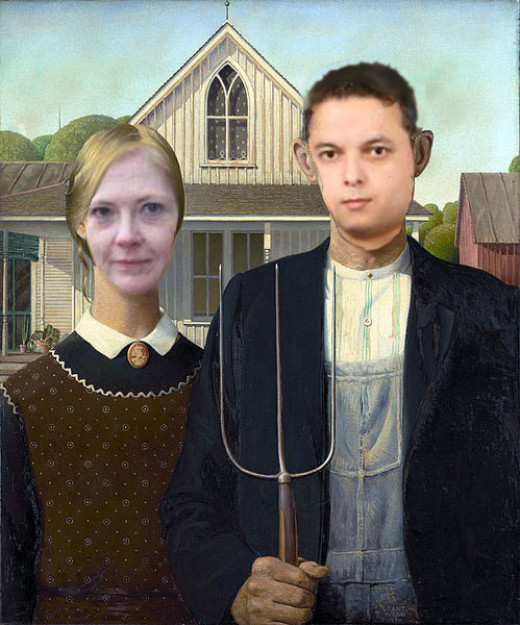 "This parody of Grant Wood's ""American Gothic"" was created by the author. The models used are HubPages writers Terrye Toombs (TToombs08) and Vinaya Ghimire (vinayaghimire)."