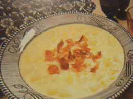 Here is how a bowl of your completed corn chowder will look like garnished with crumbled crisp bacon.