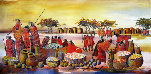 Maasai Painting of a Marketplace