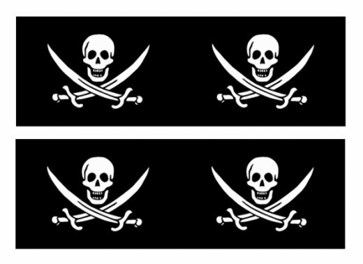 Old Fashioned image inside pirate flag printable
