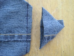 """Cut 1/4"""" away from seam to remove triangle."""