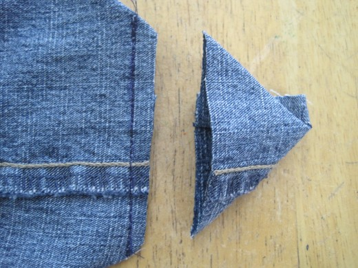 "Cut 1/4"" away from seam to remove triangle."