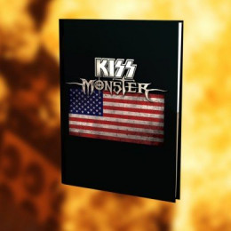Cover of the Kiss Monster Book, with U.S. flag