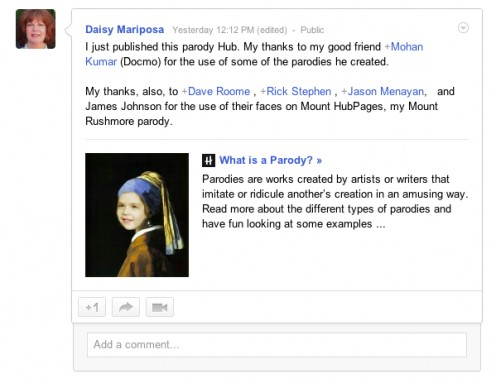 Daisy Mariposa interacting like a pro on Google+
