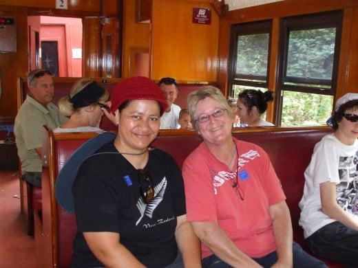 Helen and Sharon enjoying the train ride!